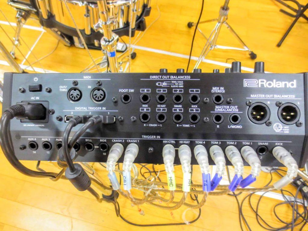 ローランド 電子ドラムセット TD-50KVA V-Drumsの音源モジュールのジャック部